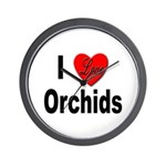 I Love Orchids Wall Clock