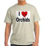 I Love Orchids (Front) Ash Grey T-Shirt