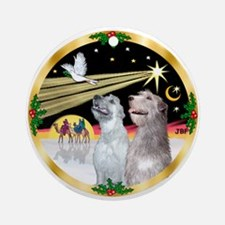 XmasDove/Irish Wolfhound pair Ornament (Round)