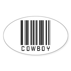 Cowboy Barcode Oval Decal