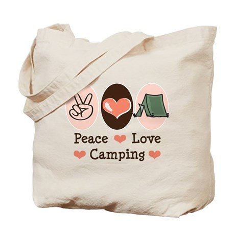 Peace Love Camping Tote Bag