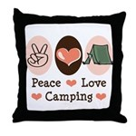 Peace Love Camping Throw Pillow