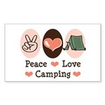 Peace Love Camping Rectangle Sticker 10 pk)