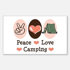 Peace Love Camping Rectangle Sticker 10 pk)