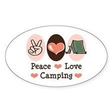 Peace Love Camping Oval Decal
