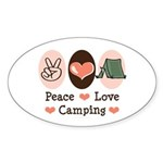 Peace Love Camping Oval Sticker (10 pk)