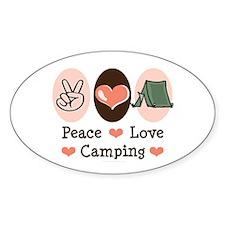 Peace Love Camping Oval Sticker (50 pk)