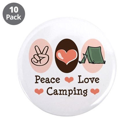 """Peace Love Camping 3.5"""" Button (10 pack)"""