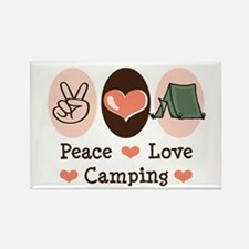 Peace Love Camping Rectangle Magnet