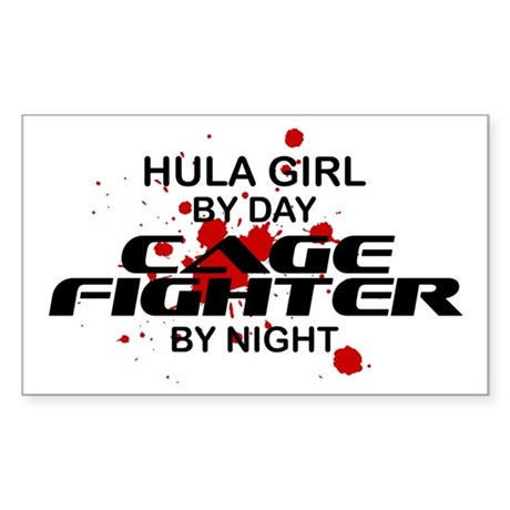 Hula Girl Cage Fighter by Night Sticker (Rectangle