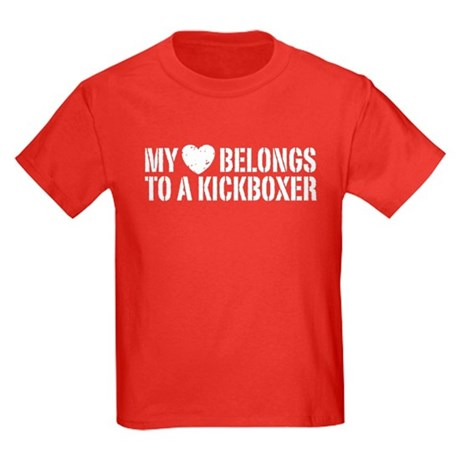 My Heart Belongs to a Kickboxer Kids Dark T-Shirt
