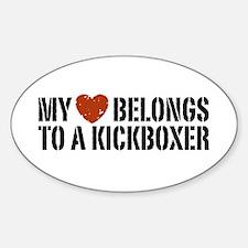 My Heart Belongs to a Kickboxer Oval Decal