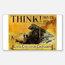 Cross Crossings Cautiously ! Sticker (Rectangular