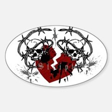 Barbed Wire Heart Oval Decal
