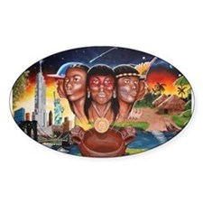 """""""TAINO PAST AND PRESENT"""" Oval Decal"""