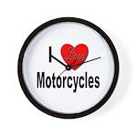 I Love Motorcycles Wall Clock