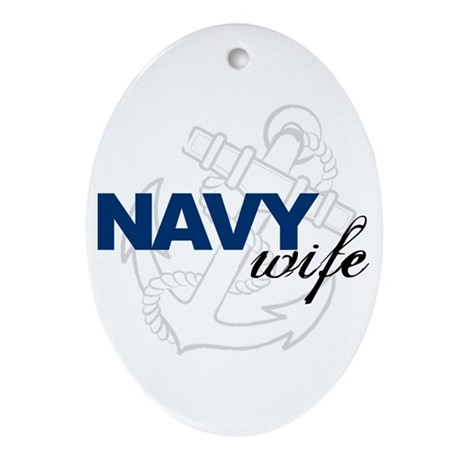 Navy Wife Oval Ornament