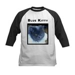 Blue Kitty Cat Kids Baseball Jersey