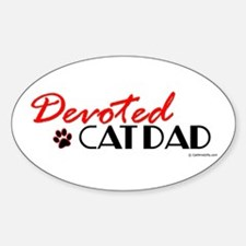 Devoted Cat Dad Oval Decal