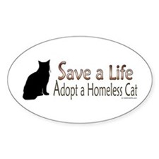 Adopt Homeless Cat Oval Decal