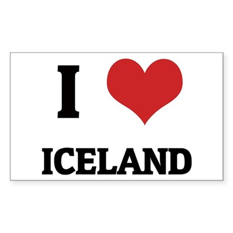 I Love Iceland Rectangle Sticker
