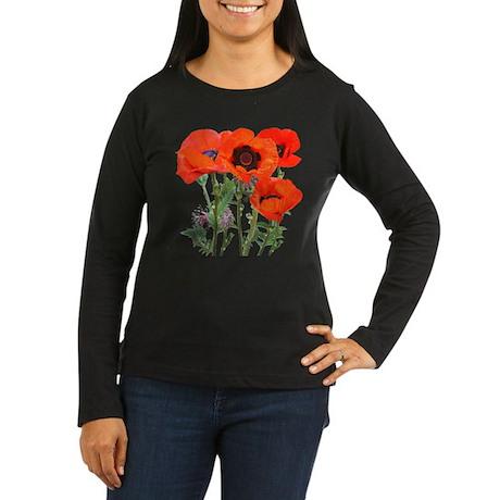 Red Poppies Women's Long Sleeve Dark T-Shirt