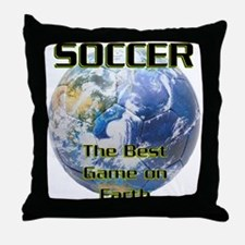 Soccer Earth Throw Pillow