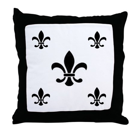 Black on White Fleur de Lis Throw Pillow