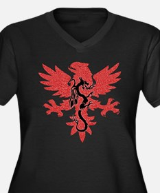 Phoenix Dragon Women's Plus Size V-Neck Dark T-Shi