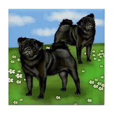 PUG DOGS BLACK AT THE PARK Tile Coaster