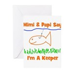 Mimi & Papi Say I'm a Keeper Greeting Cards (Pk of