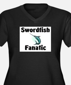 Swordfish Fanatic Women's Plus Size V-Neck Dark T-