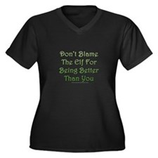 Don't blame the elf Women's Plus Size V-Neck Dark