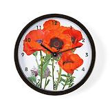 Red poppy Wall Clocks