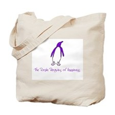 Purple Penguin of Happiness Tote Bag