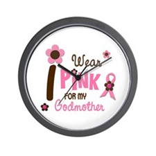 I Wear Pink For My Godmother 12 Wall Clock