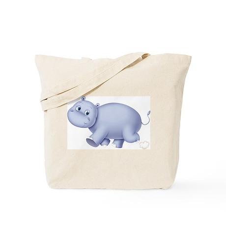 Indigo Hippo (Front & Back) Tote Bag