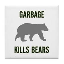 Garbage Kills Bears Tile Coaster