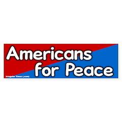 Americans for Peace Bumper Bumper Sticker