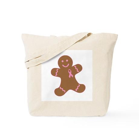 Pink Ribbon Gingerbread Man Tote Bag
