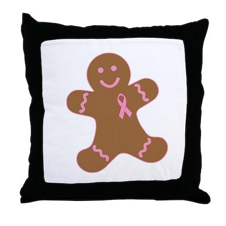 Pink Ribbon Gingerbread Man Throw Pillow