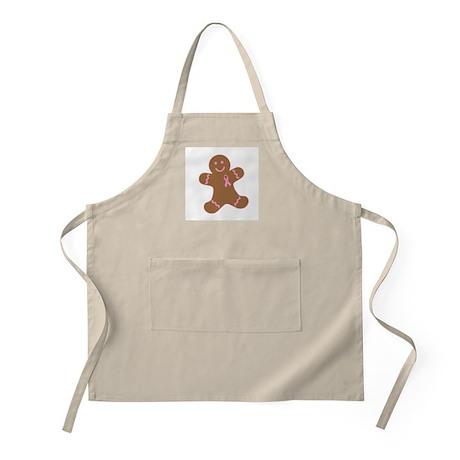 Pink Ribbon Gingerbread Man BBQ Apron