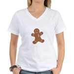 Pink Ribbon Gingerbread Man S Women's V-Neck T-Shi