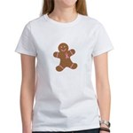 Pink Ribbon Gingerbread Man S Women's T-Shirt