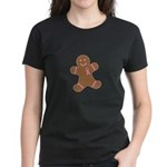 Pink Ribbon Gingerbread Man S Women's Dark T-Shirt