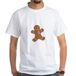 Pink Ribbon Gingerbread Man S White T-Shirt