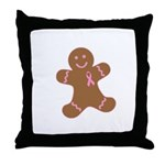Pink Ribbon Gingerbread Man S Throw Pillow