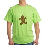 Pink Ribbon Gingerbread Man S Green T-Shirt