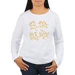 Golden Horses Batik Women's Long Sleeve T-Shirt
