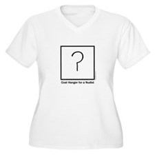 Coat Hanger for a Nudist Women's V-Neck T-Shirt